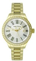 Nautica Women's N16661M BFD 101 Swarovski Crystal-Accented Gold-Tone Stainless Steel Watch
