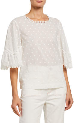 See by Chloe Textured Flounce-Sleeve Cotton Blouse