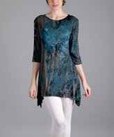 Lily Blue & Gray Floral Sidetail Tunic - Plus Too