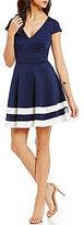 Jodi Kristopher V-Neck Striped and Illusion Hem Skater Dress