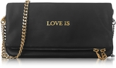 Zadig & Voltaire Black Leather Rock Words Foldable Clutch