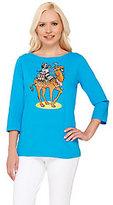Bob Mackie Bob Mackie's 3/4 Sleeve Camel Printed T-shirt with Embellishment