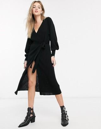 Asos Design DESIGN knitted wrap dress with volume sleeve-Black