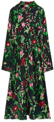 Arket Floral Hammered-Satin Dress