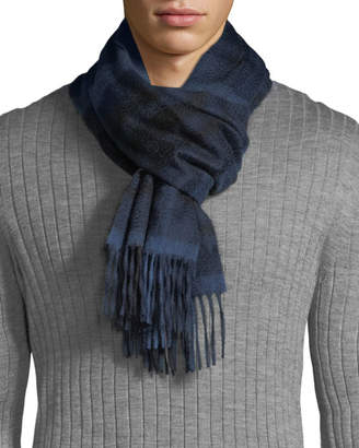 Neiman Marcus Men's Exploded Plaid Cashmere Scarf