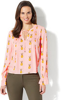 New York & Co. Pleated Peasant Blouse - Pineapple Print