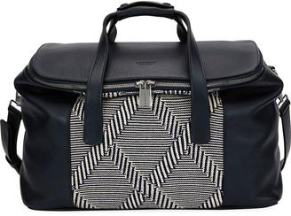 Giorgio Armani Leather & Knit Weekender Bag
