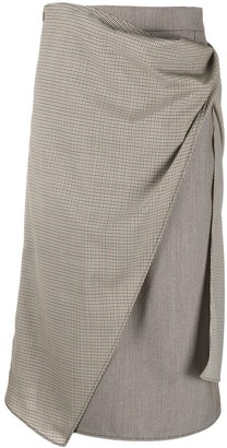 Ports 1961 Check-Panelled Straight Skirt