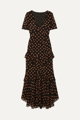 De La Vali Juliette Ruffled Polka-dot Chiffon Maxi Dress - Black