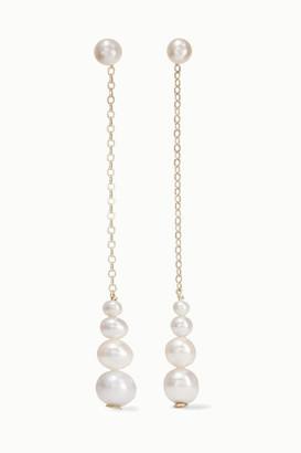 Saskia Diez Gold Pearl Earrings - White
