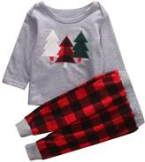 BiggerStore 2Pcs Kids Toddler Baby Girl Boy Christmas Outfit, Long Sleeve Sweater Tops+Plaid Long Pants Set