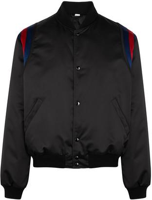 Gucci Band appliqued satin bomber jacket