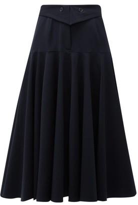 Palmer Harding Palmer//harding - Fused Waist Wool-blend Midi Skirt - Womens - Navy