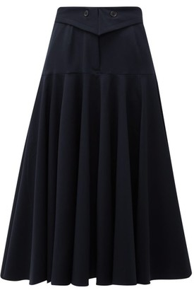Palmer Harding Palmer//Harding Palmer//harding - Fused Waist Wool-blend Midi Skirt - Womens - Navy