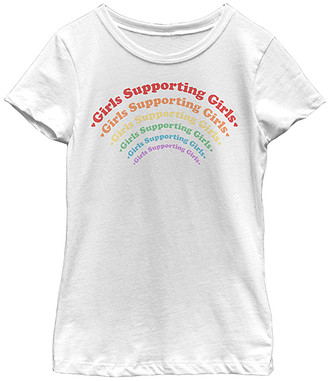Fifth Sun Girls' Tee Shirts WHITE - White 'Girls Supporting Girls' Rainbow Crewneck Tee - Girls
