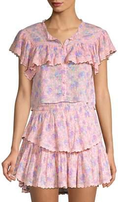 LoveShackFancy Laurel Floral Lace Crop Top
