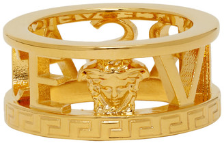 Versace Gold Logo Cut-Out Ring