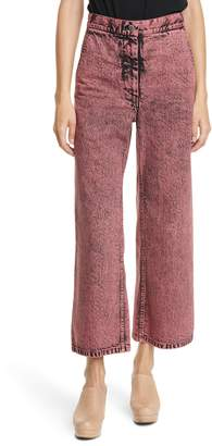 Rachel Comey Clean Bishop Acid Wash Crop Wide Leg Jeans