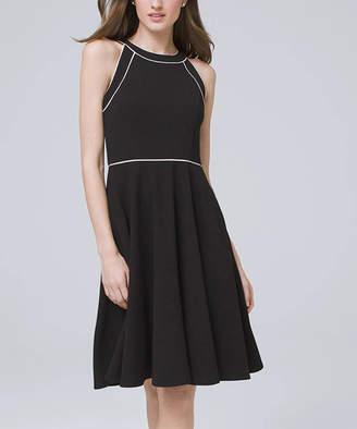 White House Black Market Women's Casual Dresses Black - Black & Ecru Piping Sleeveless Fit & Flare Dress - Women