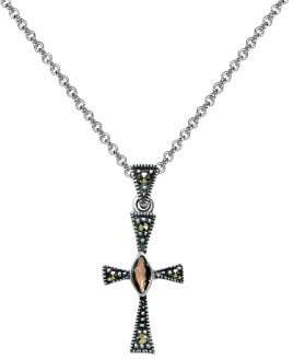 Lord & Taylor Sterling Silver, Garnet & Marcasite Cross Pendant Necklace