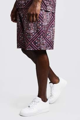 BoohoomanBoohooMAN Mens Black Big & Tall Tile Print Jersey Shorts, Black