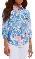 Allison Daley Petites 3/4 Sleeve Button Front Printed Blouse