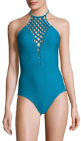 Mikoh Avalon Macrame Halter One Piece Swimsuit