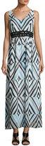 Taylor Lace-Inset Chiffon Maxi Dress, Blue Pattern