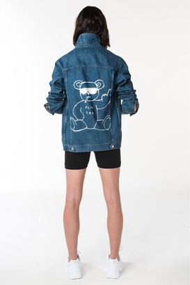 French Connenction Fcuk Rude Bear Over Sized Denim Jacket