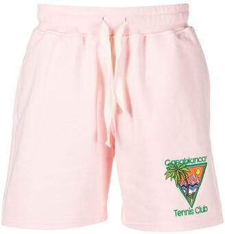Casablanca Tennis Club-embroidered organic cotton shorts