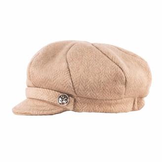 Heritage Traditions Womens Pale Camel Tweed Wool Peaked Newsboy Cap Hat