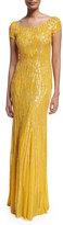 Jenny Packham Cap-Sleeve Embellished Gown, Honey Bee