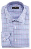 Ike Behar Textured Plaid Cotton Dress Shirt