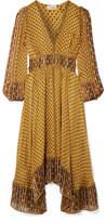 Ulla Johnson Amabelle Printed Silk-jacquard Midi Dress - Yellow