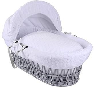 Clair De Lune Marshmallow Grey Wicker Moses Basket inc. Bedding, Mattress & Adjustable Hood (Pink)