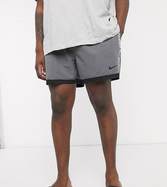 Nike Swimming Plus 5inch taped volley shorts with hidden AOP in grey