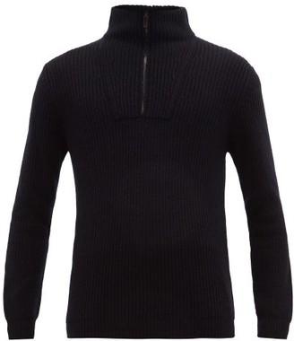 Iris von Arnim Milan Half-zip Ribbed Cashmere Sweater - Mens - Navy