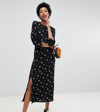 Glamorous Tall midi dress in vintage floral-Black