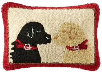 L.L. Bean Wool Hooked Throw Pillow, Two Labs