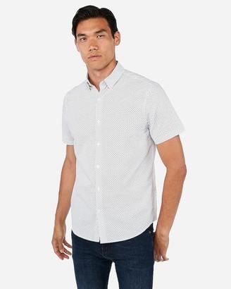 Express Slim Circle Print Short Sleeve Shirt