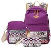 Morrivoe Women Bag 3pcs Canvas Laptop Backpack Shoulder Bag Pencil Case Travel Rucksack Daypack Schoolbag for Girls