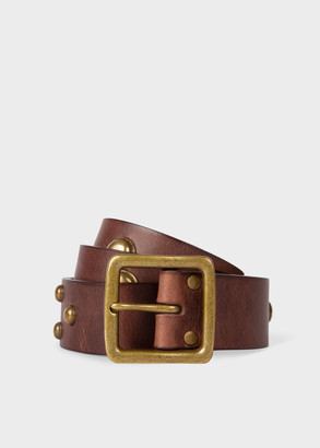 Paul Smith Men's Brown Leather Belt With Studs