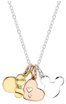 """Disney Women's Silver Plated Minnie and Mickey Heart Necklace in Silver Plating - Silver/Gold (18"""")"""