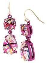 Betsey Johnson East Harlem Shuffle Crystal Double Drop Earrings