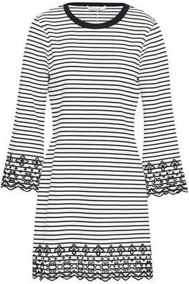 Derek Lam 10 Crosby Striped Broderie Anglaise-trimmed Stretch-jersey Mini Dress