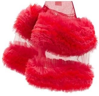 Molly Goddard Milo Asymmetric Frilled Tulle Skirt - Pink Multi