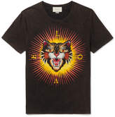 Gucci Angry Cat Embroidered and Printed Distressed Cotton-Jersey T-Shirt