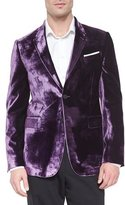 Paul Smith Bayard Liquid Velvet Two-Button Jacket, Purple