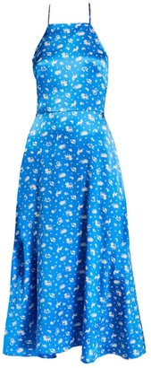 HVN Reece Halter Dress, Turquoise Zodiac