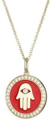 Sydney Evan 14K Yellow Gold, Diamond & Enamel Hand Pendant Necklace